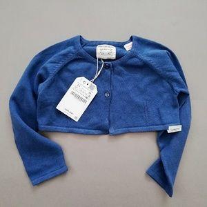 ZARA Baby Girl's Basics Deep Blue Cropped Cardigan